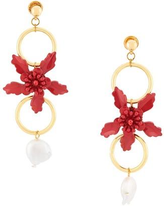 Oscar de la Renta Flower Hanging Earrings