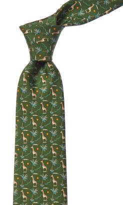 Salvatore Ferragamo Green Giraffes Silk Tie