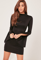 Missguided Scuba High Neck Split Sleeve Bodycon Dress Black