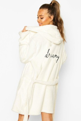 boohoo Dreamy Embroidered Fluffy Dressing Gown