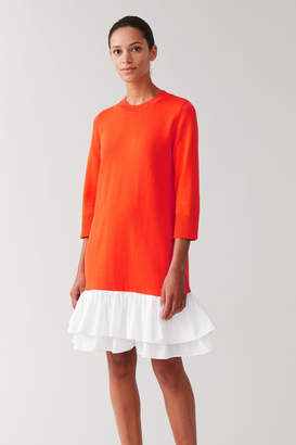 Cos KNITTED DRESS WITH WOVEN PLEATS