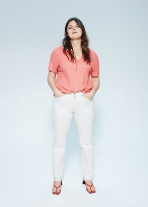 MANGO Violeta BY Buttons t-shirt off white - S - Plus sizes