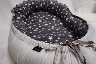 Isabella Collection Alicia White Cotton Grey Stars Reborn Doll Nest Sleep Pod, 1.4 kg