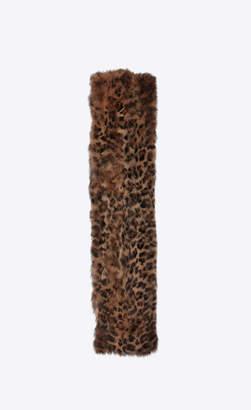 Saint Laurent Large Scarves Leopard-print Fox Fur Scarf Light Brown Onesize