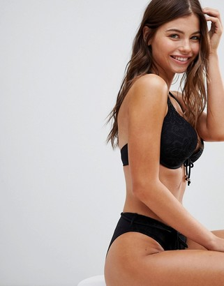 Pour Moi? Pour Moi Crochet Boost Padded Plunge Underwired Bikini Top B-F Cup
