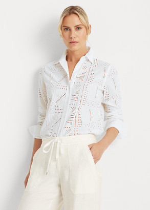 Ralph Lauren Patch-Eyelet Cotton Shirt