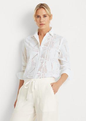 Ralph Lauren Patch-Eyelet Cotton Shirt
