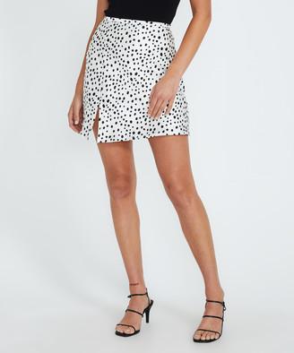 Alice In The Eve Minimal Animal Lana Bias Cut Mini Skirt Black/White