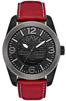 Timberland Men's Stainless Black & Red LeatherWatch