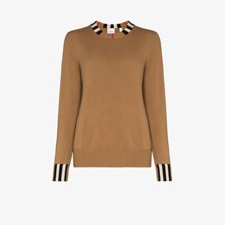 Burberry Eyre Icon stripe trim cashmere sweater