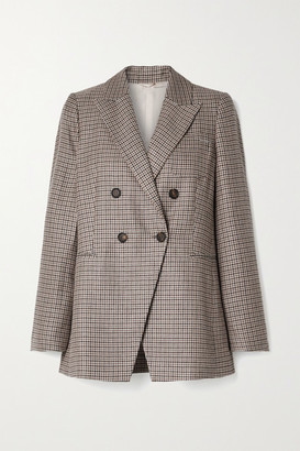 Brunello Cucinelli Houndstooth Linen, Wool And Silk-blend Blazer - Multi