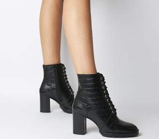 Office Astra Heeled Lace Up Boots Black Croc Leather