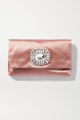 Jimmy Choo Titania Crystal-embellished Satin Clutch - Pink