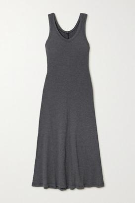 James Perse Ribbed Cotton-blend Jersey Midi Dress - Black