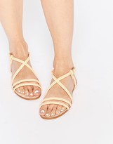Miista Jo Nude Strappy Leather Flat Sandals