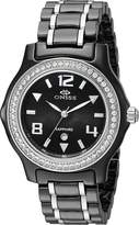MOP Oniss Paris Women's ON806-L On806-L Blk Ladies, High Tech Ceramic Case And Band With Stainless Steel Middle Links ,Swiss Movement, Sapphire Crystal, Dial,52 Austrian Crystals On Bezel - White Watch