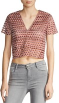 Maje Lezabel Sheer Stripe Crop Top