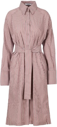 A Line Clothing Pinstriped Cotton Midi Dress