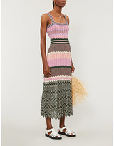Sandro Sonya chevron-pattern stretch-knit midi dress