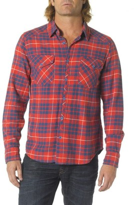 Silver Jeans Men's Red Plaid Flannel Button Up Shirt Large