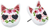 Betsey Johnson Cat Stud Earrings (Pink) Earring