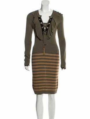 Sonia Rykiel Rib Knit Knee-Length Dress w/ Tags Olive