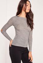 Missguided Grey Elbow Slash Crew Neck Sweater