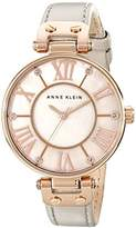 Anne Klein Women's 10/9918RGTP Rose Gold-Tone and Taupe Leather Strap Watch