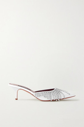 Area Crystal-embellished Patent-leather Mules - White