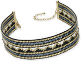 INC International Concepts Gold-Tone Multi-Bead Wide Choker Necklace, Created for Macy's