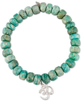 Sydney Evan Beaded Green Amazonite Bracelet with Diamond Om Charm