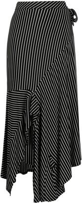 MM6 MAISON MARGIELA Asymmetric Striped Midi Skirt
