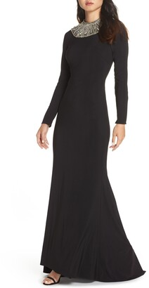 Mac Duggal Beaded Collar Long Sleeve Jersey Gown