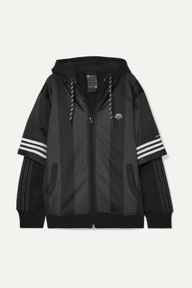 Adidas Originals By Alexander Wang Hooded Layered Fleece, Mesh And Tech-jersey Jacket - Black