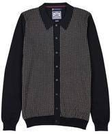 Burton Mens Le Shark Navy Knitted Cardigan with Patterned Front Panels*