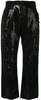 R 13 Sequin Embellished Jeans