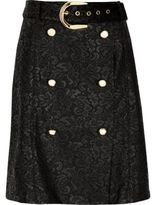 River Island Womens Black lace buttoned mini skirt