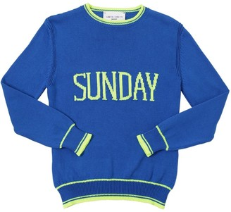 Alberta Ferretti Sunday Intarsia Cotton Knit Pullover