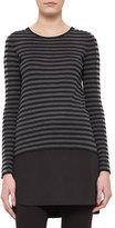 Akris Punto Striped Knit Long-Sleeve Tunic, Black/Coal