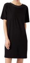 Jigsaw Silk Trim Deep V Back Dress, Black