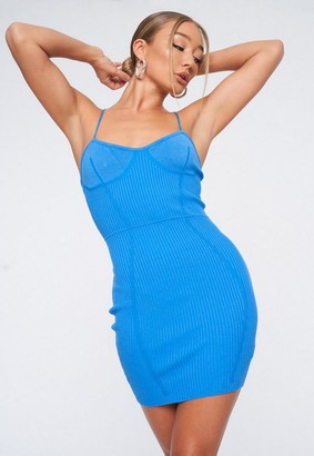 Missguided Blue Cross Front Knit Bodycon Dress