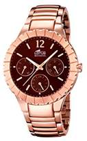 Lotus Women's Quartz Watch with Brown Dial Analogue Display and Stainless Steel Rose Gold Plated Bracelet 15904/2