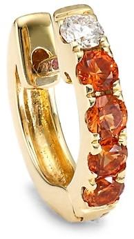 Robinson Pelham Orb 14K Yellow Gold, Orange Sapphire & Diamond Single Medium Huggie Earring