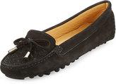 Neiman Marcus Bruna Woven Suede Loafer, Black