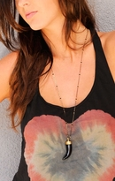 Onyx Horn With Black Spinels Necklace