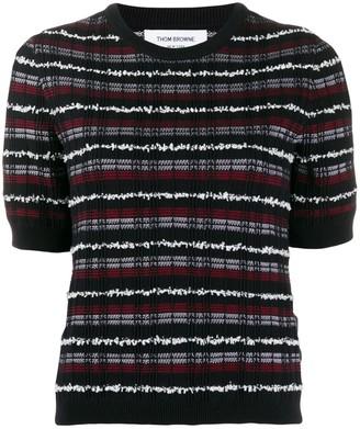 Thom Browne check-pattern tweed T-shirt