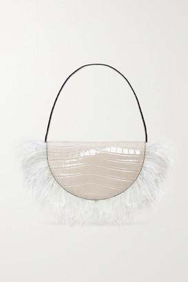 STAUD Amal Feather-trimmed Croc-effect Leather Shoulder Bag