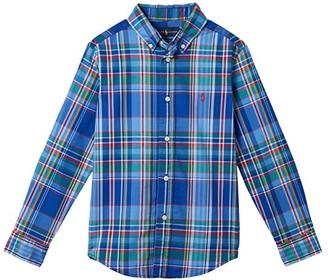 Polo Ralph Lauren Kids Plaid Cotton Poplin Shirt (Little Kids/Big Kids) (Blue Multi) Boy's Short Sleeve Button Up