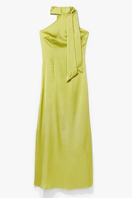 Nasty Gal Womens Raise Your Glass Halter Satin Dress - Chartreuse