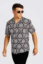 BoohooMAN Big & Tall Paisley Revere Collar Shirt